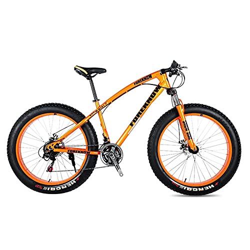 SFSGH Bicicleta de montaña, Bicicleta de Carretera para Adultos, 24 Pulgadas, 21/24/27 velocidades, Hombres, Mujeres, Aceite, Resorte, Horquilla, Horquilla Delantera, Paseo naranja-20, 2