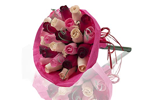Rosenstrauß aus Holz, perfekt für jeden Anlass, schöne Dekoration für Zuhause oder Büro, verschiedene Farben Rot, Weiß und Rosa