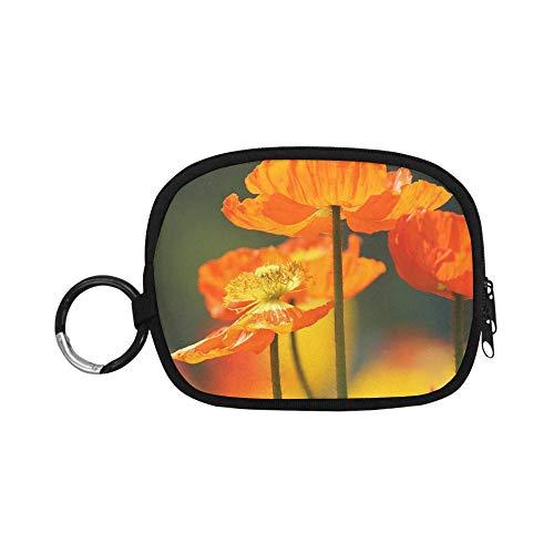 Reisemünzfach Mohn Blumen Mohn Orange Blumen Frühling Mohn Geldbörsen Für Jungen Bargeld Und Geldbörse Reißverschluss Mit Schlüsselbund Ring Für Mädchen Frauen Kinder