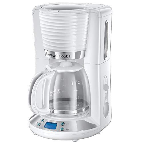 Russell Hobbs Machine à Café, Cafetière Filtre 1,25L, Programmable 24h, Verseuse Verre, Maintien au Chaud - Blanc 24390-56 Inspire