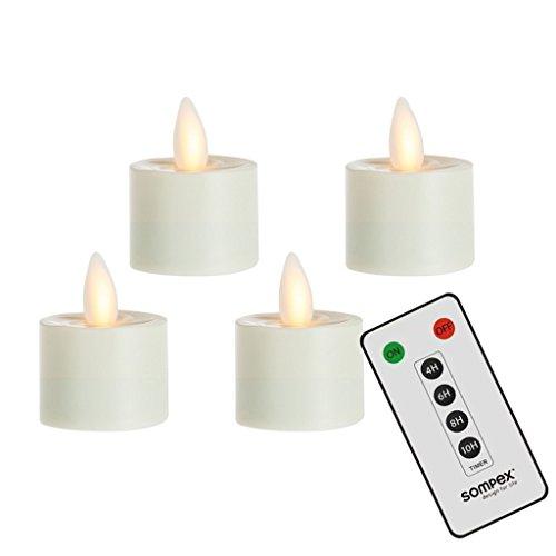 sompex 4er Set Flame LED Teelichter mit Fernbedienung