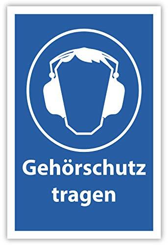SCHILDER HIMMEL anpassbares Gehörschutz tragen Arbeitsschutz Schild 29x21cm Kunststoff, Nr 503 eigener Text/Bild verschiedene Größen/Materialien