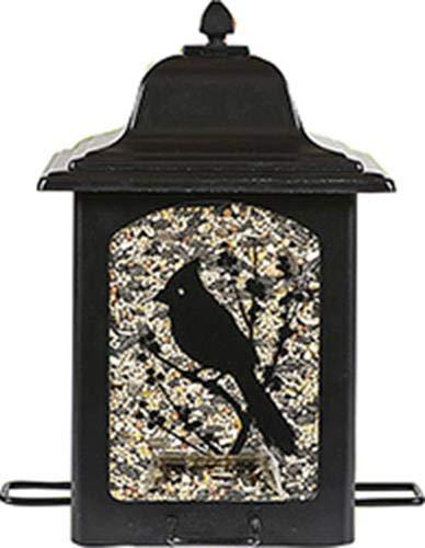 Perky-Pet voederdispenser voor vogels in de tuin in in lantaarnstijl – metalen vogelvoersilo met 4 voederplaatsen/vulcapaciteit 1,4 kg vogelvoer/mod. 363