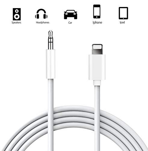 Anupow Auto AUX Kabel, Aux Kabel auf 3,5mm Premium-Audio Kabel für Auto Stereo/Kopfhörer/Lautsprecher System/Home/Auto-Stereoanlagen für iPhone 12mini / 12 Pro Max / 11/11 Pro/XS/XS Max/SE2 (Weiß)