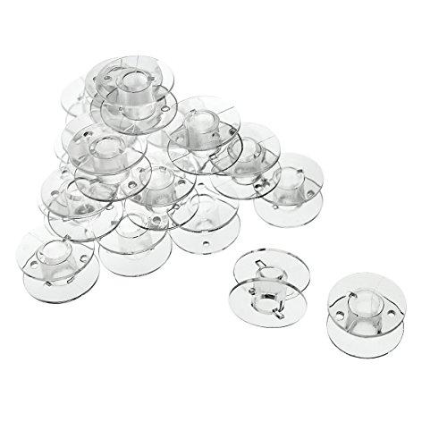 Faden & Nadel 25 Spulen leer für die Nähmaschine/Nähmaschinenspulen (transparent/durchsichtig) aus Kunststoff