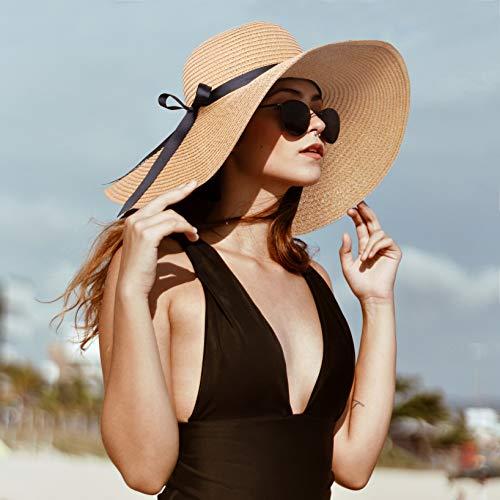 Womens Straw Hat Wide Brim Floppy Beach Cap Adjustable Sun Hat for Women UPF 50+ (Bowknot&Khaki)