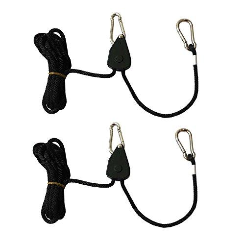 Pair of Heavy Duty Adjustable Grow Light Ratchet Rope Hanger Yoyo for Grow Light Fixtures & Gardening by Hongville (1/8 Nylon Gear (Pair))
