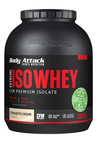 Body Attack Extreme Iso Whey, CFM Aislado de proteína de suero de leche de sauce irlandés 100%, sin gluten, rico en AEA, bajo en grasas, 90,6% de contenido de aislado (cookies n cream, 1,8 kg)