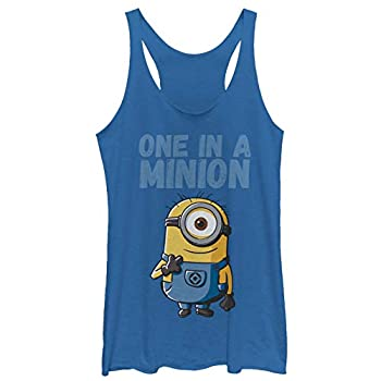 Women s Despicable Me Cute One in a Minion Racerback Tank Top - Royal Blue Heather - Small