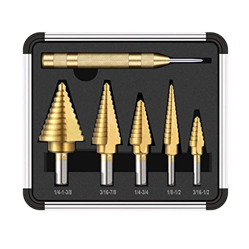 Drill Sets Titanium Coated Step Drill with Centre Punch Drill Set Hole Cutter Drilling Tool 6 Pieces Drilling Accessories for DIY Plastic