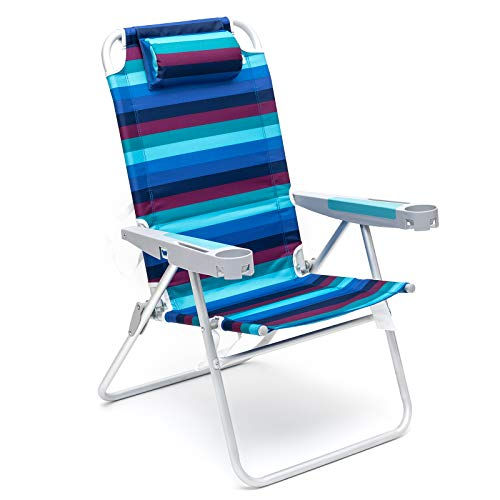 SUNNYFEEL 5-Position Hi-Back Beach Chair Camp Chairs Outdoor Travel Backpack Chair (Blue/Red Stripe)