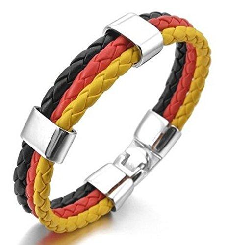 Herren Edelstahl Echtes Leder Armband Armreif Manschette Silber Schwarz Rot Gold Deutsch Deutschland...