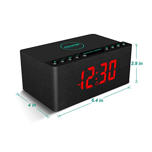 ANJANK Wooden Alarm Clock with FM Radio, 10W Super Fast Wireless Charger Station for iPhone/Samsung, 5 Level Dimmer, USB Charging Port, Sleep Timer, Digital LED Clock for Bedroom