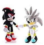 Hzong 2Pcs / Set 27-30Cm Juguete De Peluche Sónico Amy Rose Sonic-Shadow-Silver The Hedgehog Tails K...