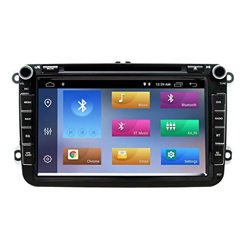 8 Pollici Autoradio 2 Din Android 10 GPS per VW Golf MK5 MK6 Passat Skoda Polo T5 con Touch Screen CD DVD Navigazione GPS Bluetooth AM PM WIFI SWC DSP DAB+, 2+16GB