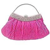 JIWEIER Hermoso Bolsos de Tarde Mujer Detalles de Cristal Seda Bolso de Noche Color sólido Fucsia/Otoño Invierno (Color : Fuchsia)