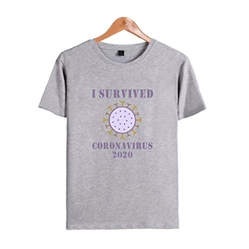 LXHcool I Survived Cóvid-19 in 2020 and Survived Purple- Córonavirus Pandemic Remembrance Survivor T-Shirt (Color : Gray, Size : Small)