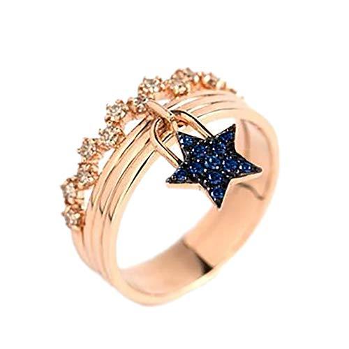 minjiSF Anillo de estrella para mujer, exquisito, fino, diamante, oro, alianzas, alianzas,...