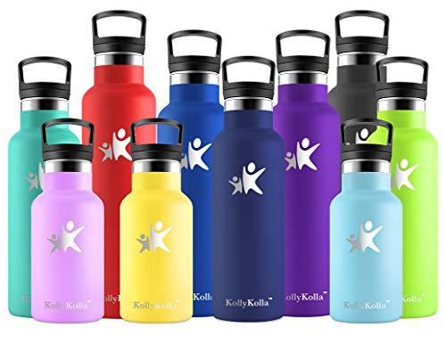 KollyKolla Trinkflasche Edelstahl, Vakuum Isolierte Wasserflasche - 350/500/600/750ml/1L, BPA FREI Standardmund Thermosflasche für Kinder, Mädchen, Schule, Kindergarten, Sport, Wandern, Camping, Yoga