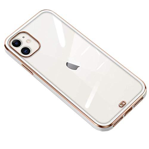 FTYSXP Adecuado para iPhone 11 Seconds to Change iPhone 12 Funda Protectora para teléfono Galvanoplastia Completa Cubierta Protectora para iPhone 11 de Lado Recto Suave Sin (iPhone 11 Blanco)