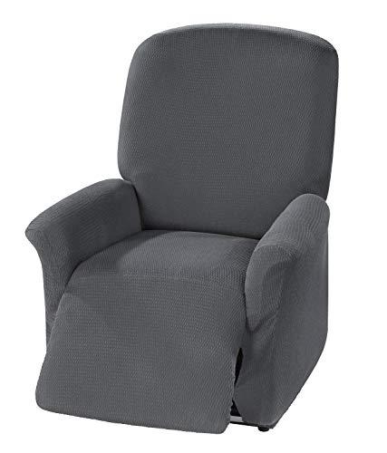 BEAUTEX Milan Sofahusse für Ecksofa, Clubsessel, 1er, 2er, 3er Sitzer, elastische Stretch Husse, Farbe wählbar (Relaxsesselhusse Grau)