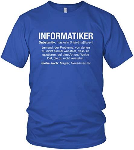 Informatiker Wikipedia - Camiseta para hombre azul real L