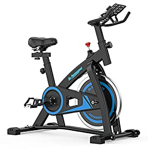 De.Pommeyeux Exercise Bike, Stationary Indoor Cycling Bike with 35 Lbs Flywheel, Exercise Equipment for Home Workouts Cardio Training with Comfortable Seat, Silent Belt Drive, iPad Holder