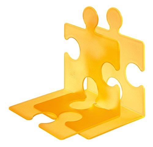 Han, CD-standaard/boekensteun puzzel, chique, innovatief en zeer stabiel. Kan naar wens aan elkaar worden gekoppeld, set van 2 stuks. signaal-oranje