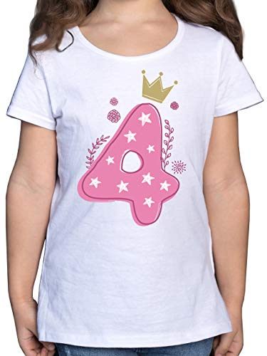 Geburtstag Kind - 4. Geburtstag Mädchen Krone Sterne - 104 (3/4 Jahre) - Weiß - geburtstagsshirt+4+Jahre+mädchen - F131K - Mädchen Kinder T-Shirt