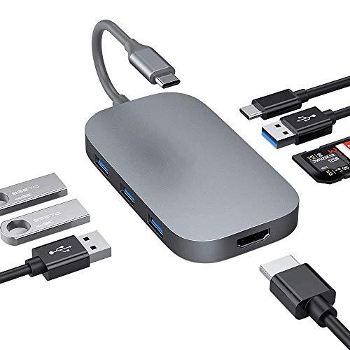 USB C Hub, aluminium type C 8 in 1 hub adapter met 4K HDMI-uitgang, 4 USB 3.0 poorten, USB C voeding, SD/TF kaartlezer, compatibel met MacBook Pro 13