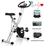 FUNMILY Exercise Bike, Indoor Magnetic Resistance Upright Bike with App Program, Folding Compact Recumbent Workout Bike with 10-Levels Adjustable Resistance & Comfortable Seat (Gray)