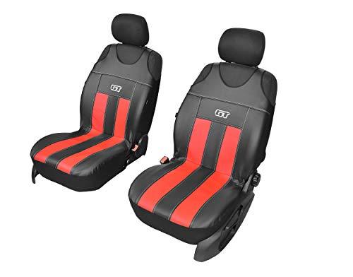 GT Kunstlederen universele stoelhoezen, meerdere kleuren, sportdesign, geschikt voor Fiat Panda, voorkant hoezen rood