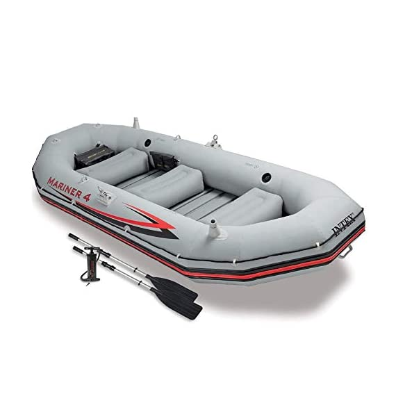 HWZQHJY 4-Person Inflatable Boat Set Aluminum with Oars High Output Air Pump 1 The strong molecular structure of this plastic makes it highly resistant to damage from abrasion, impact and sunlight. Four Boston valves on main hull chamber for quick-fills and fast-deflations. The keel is inflatable; this results in improved control and handling.