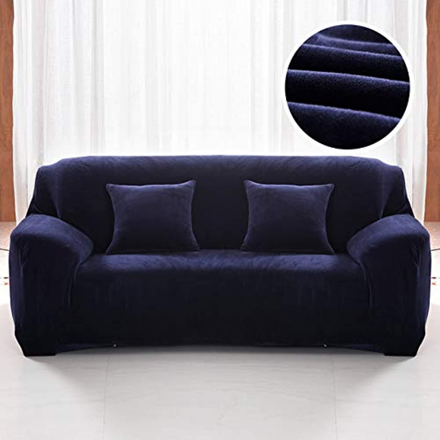Farmerly Plush fabirc Sofa Cover 1 2 3 4 Seater Thick Slipcover Couch sofacovers Stretch Elastic Cheap Sofa Covers Towel wrap Covering   Navy, 1 seat 90-140cm