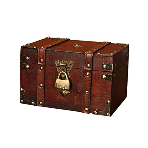 Ausomely Schatztruhe Holztruhe Piratenkiste, Geschenk-Box verschließbar mit Deckel und Schloss mit Schlüssel große Schatzkiste