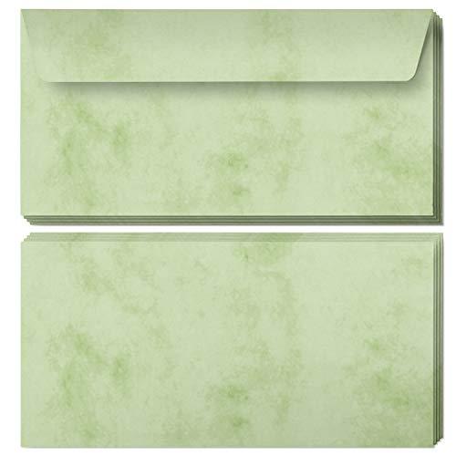 50 Briefumschläge DIN Lang | Marmor Grün | selbstklebend ohne Fenster | Brief-Umschlag mit Design-Motiv bedruckt | Vintage | 90 g/m²