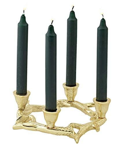 EDZARD Adventkranz Gold Kingston, Aluminium vernickelt, goldfarben, Kerzenhalter in Geweih-Optik für handelsübliche Staberzen, Höhe 6,5 cm, Durchmesser 21 cm
