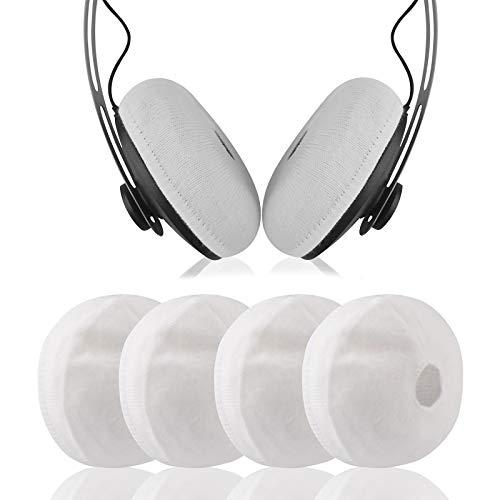 Geekria Funda para Auriculares (Tejido elástico, para Solo Pro, Solo 3, Sony WH-XB700, WH-CH510, para Auriculares de 4 a 3 Pulgadas, 2 Pares, Color Blanco