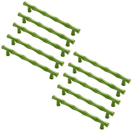 FBSHOP(TM) Grün Bambusform Schranktürgriffe Türgriffe 10 STK. Moderne Möbelgriffe für Schrank, Kommode, Zinklegierung Möbelknopf Möbelgriffe mit Schrauben im Landhausstil,BA 128mm