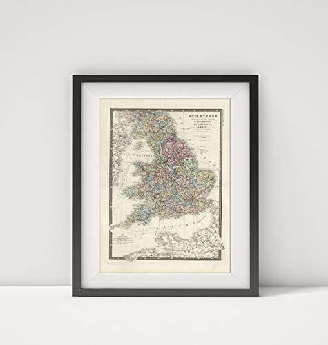 Mapa-Carto, LLC 1875 Map of England|Angleterre|Title: Angleterre Principaute de Galles et Partie Meridionale de l'Ec