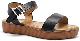 Carli Women's Open Toe Ankle Strap Platform Low Wedge Sandals