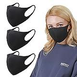SPAKER 3 PACK Black Fashion Face Cover 、 黒ファッションフェース·カバー,ユニセックス、洗濯可能、再使用可能