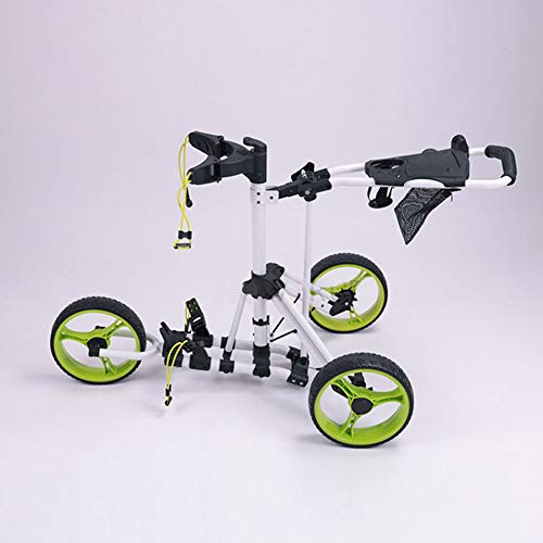 Leichte Golf Rollwagen, 3 Räder faltbare Golf-Trolley, Club-Push-Pull-Wagen Trolley, Golftasche Trolley, klicken Sie auf eine Falte