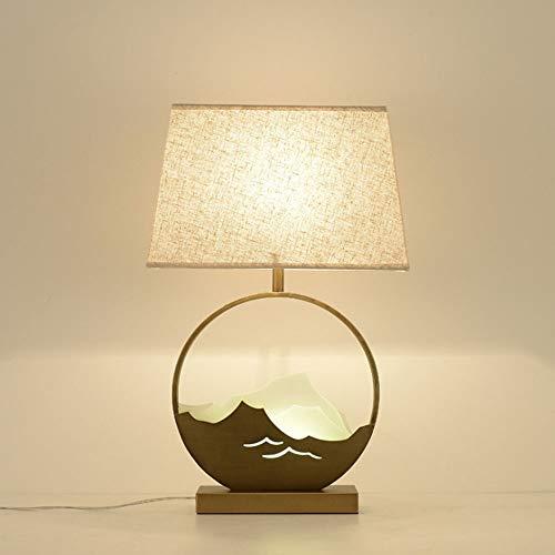 Cinese moderno Tessuto vetro Lampada da Tavolo Lampada da comodino Metallo dorato Lampada da Tavolo per soggiorno, tessuto lampada da tavolo con interruttore per Camera da letto e sala di studio,F