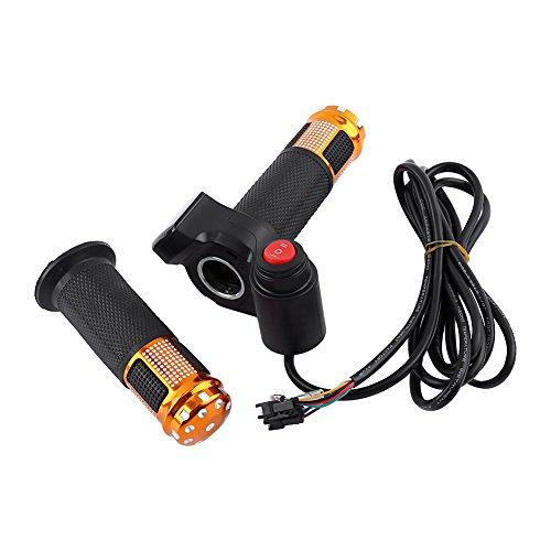 Dpofirs Puños de Acelerador giratorios Antideslizantes de 3 velocidades con Pantalla LED, con Golpe de tecla, Pantalla de batería en Tiempo Real de Datos Digitales(Oro)