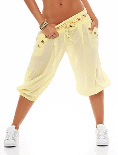 Malito Mujer Corto Bombacho Pantalón con Cinturón Baggy Aladin Yoga Pants 3416