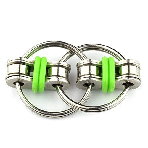 Silicona Sensorial Fidget Juguete, Juguetes para apretar Flippy cadena Cadena de acero inoxidable de bicicletas Fidget juguete del alivio de tensión cadena de llavero para adultos verdes de los niños