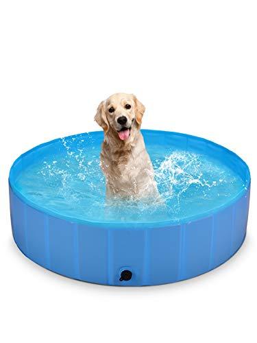 BlueFire Piscina per Cani, 120x30 cm Vasca Pieghevole per Cani PVC Antiscivolo Resistente all'Usura Vasca Bagno Piscinetta per Cani Piccoli Grandi Animali Domestici Gatti e Bambini