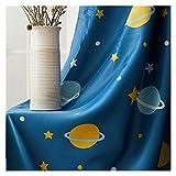 Cortinas Opacas 1 panel azul cortina apagón, estrella planeta impresa cortinas apagones, cortinas de espacio para niños Pantalla de ventana de habitación para niños Habitación Cortina para Ventana