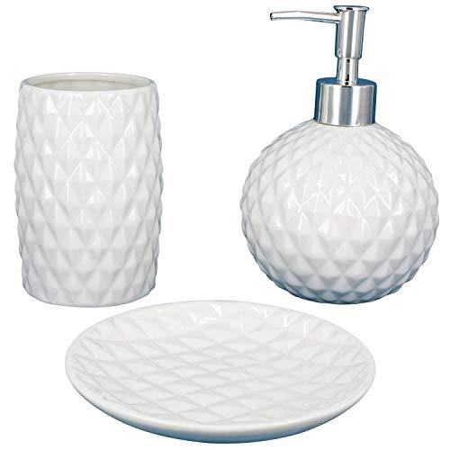 G Decor Designer - Set da 3 accessori per il bagno, ceramica bianca, include portasaponetta, dispenser e bicchiere portaspazzolini
